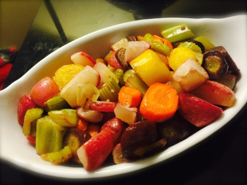 Spruce up dull roasted vegetables by adding lots of color and flavor